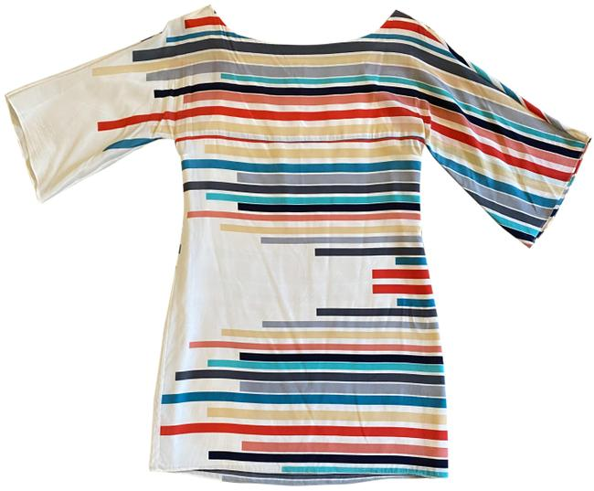 Item - White Blue Red Green Beige Silk Striped Short Casual Dress Size 4 (S)
