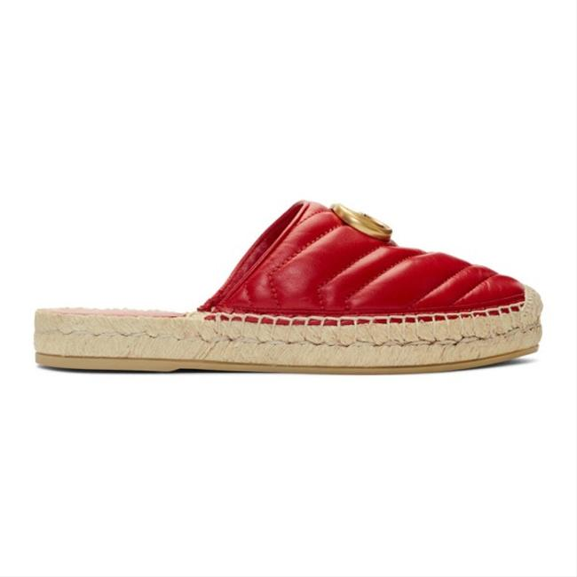 Item - Marmont Red 551881 Double G Leather Espadrille Slide Sandals Size EU 37.5 (Approx. US 7.5) Regular (M, B)