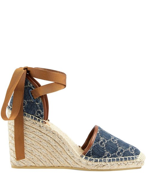 Item - Blue Gg Pattern Denim Platform Espadrilles Wedges Size EU 38.5 (Approx. US 8.5) Regular (M, B)