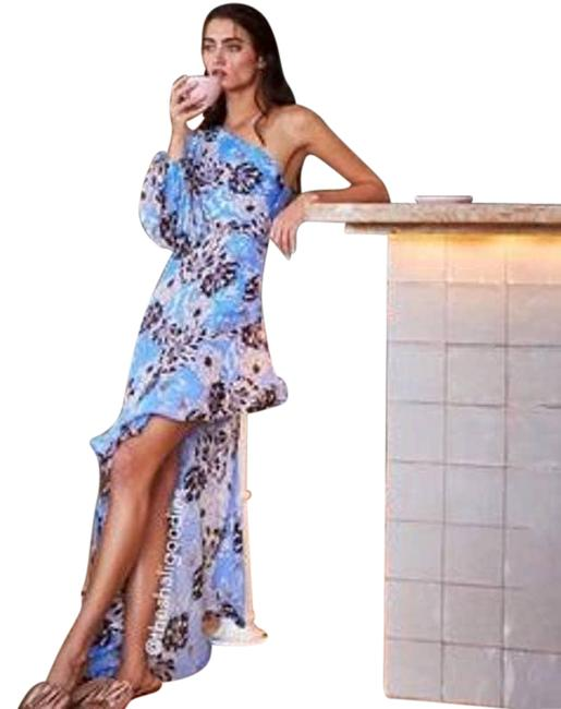 Item - Blue XS Abanna Floral One Shoulder New. Xs. Long Casual Maxi Dress Size 2 (XS)