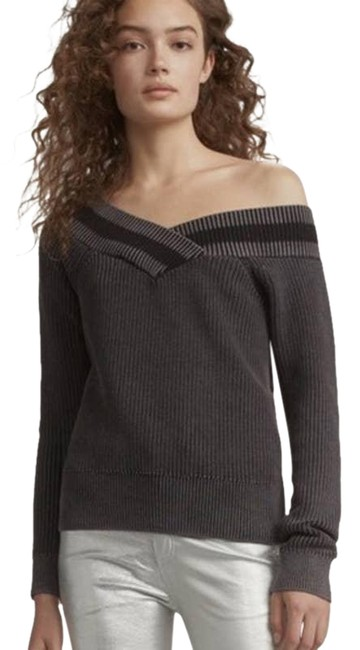 Item - XS Dawn Off The Shoulder Charcoal Ribbed Gray Sweater