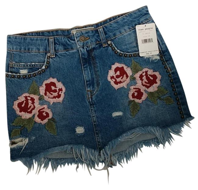 Item - Wild Rose Embroidered Jean Skirt Size 6 (S, 28)