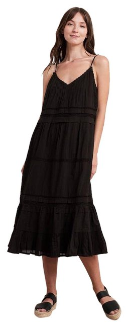 Item - Black Spencer New Velvet By Graham & Zuly Lace Tiered Midi Short Casual Dress Size 6 (S)