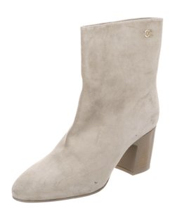 Chanel Suede Cc Ankle creme Boots