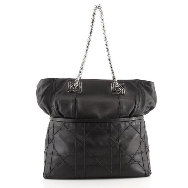 Item - Granville Chain Cannage Quilt Large Black Leather Tote