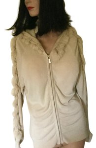 Barcelino Peep Holes Sweater Rabbit Fur European Cardigan