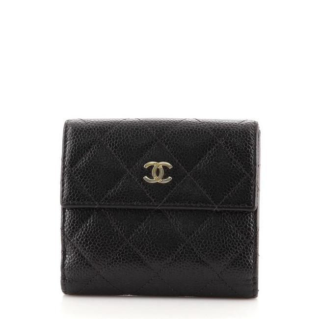 Item - Black Cc Compact Quilted Caviar Wallet