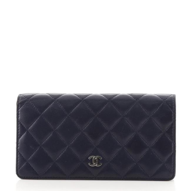 Item - Blue L-yen Quilted Lambskin Long Wallet