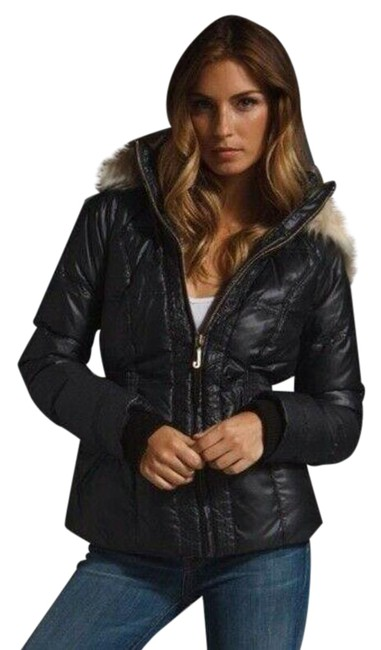 Item - Black Womens Down Fur Hooded Shimmer Puffer Jacket Size 8 (M)
