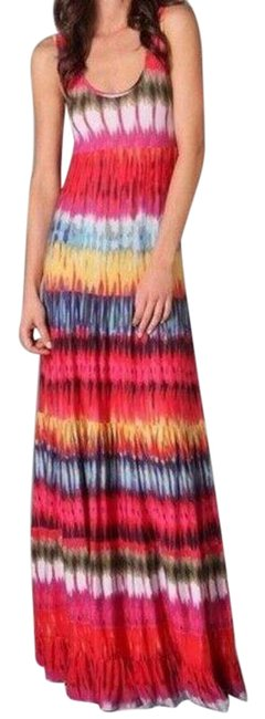Item - Multicolor Womens Red Tie Dye Full Length Casual Maxi Dress Size 4 (S)