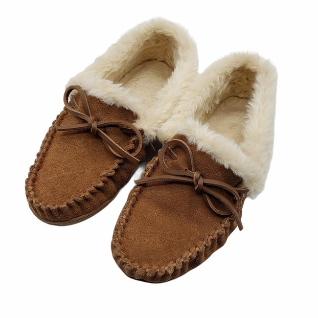 Item - Brown Suede Shearling Moccasin Slippers Flats Size US 7 Regular (M, B)