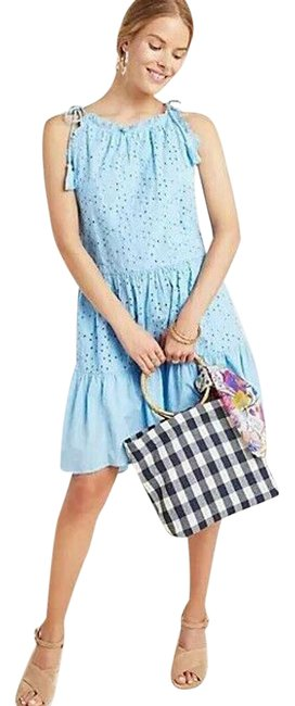 Item - Blue New Mindy Eyelet Tiered Tunic By Ranna Gill Short Casual Dress Size 4 (S)