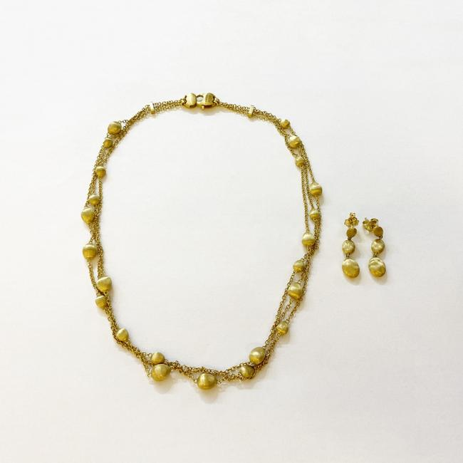 Item - Yellow Gold Siviglia Triple Strand Necklace & Drop Earrings Set