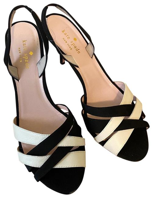 Item - Black White Strappy and Low Heels Pumps Size US 9 Regular (M, B)