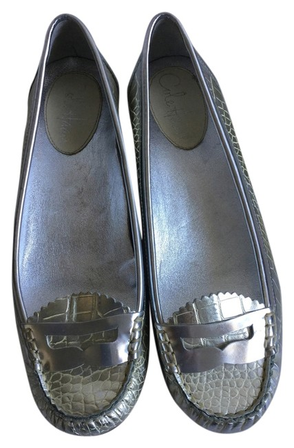 Item - Gold and Silver Snakeskin Flats Size US 8.5 Regular (M, B)