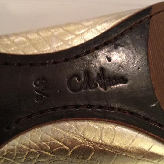 Cole Haan Snakeskin Gold and Silver Flats