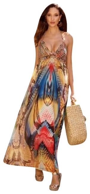 Item - Multicolored Pretty Wings Long Casual Maxi Dress Size 4 (S)