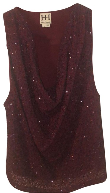 Item - Sequin Cowl Neck Silk Tank Blouse Red Top
