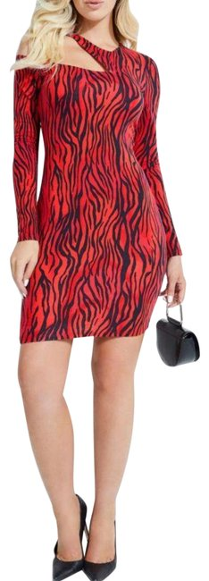 Item - Red/Black Red/Black Animal-print Cold-shoulder Cutout Short Night Out Dress Size 16 (XL, Plus 0x)
