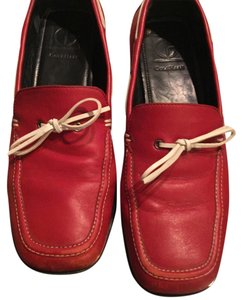 Cole Haan Boat Walking Red White Leather Flats