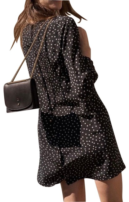 Item - Black Silk Button-back In Star Scatter Short Casual Dress Size 0 (XS)