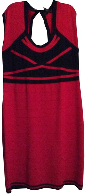 Item - Red/Black Bodycon Sweater Mid-length Night Out Dress Size 22 (Plus 2x)