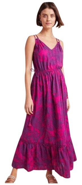 Item - Pink Saturday Sunday Yasmine Floral V-neck Ruffled S Long Casual Maxi Dress Size 4 (S)