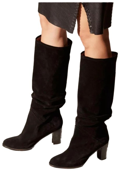 Item - Black Ruched Slouch Pull Boots/Booties Size US 7 Regular (M, B)