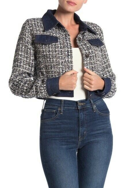 Item - Blue Tweed and Crop Contrast Jacket Size 4 (S)