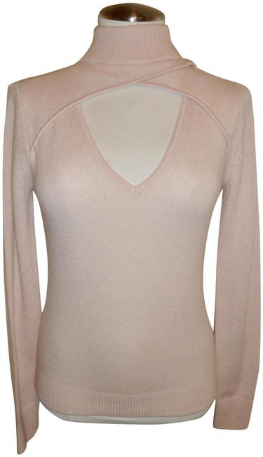 Item - Featherlite Cashmere Cut-out Mock Neck Pink Sweater
