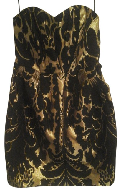 Item - Black/Gold Above Knee Night Out Dress Size 6 (S)