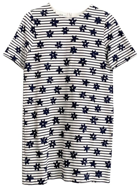 Item - White XS Navy Stripes Floral Relaxed Fit Pocket Casual Maxi Dress Size 2 (XS)