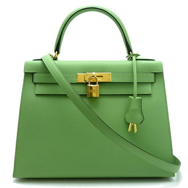 Item - Kelly 28 Y Engraved 2020 Ladies Handbag Vaux Veil Cricket Green / Vert / Vert Epsom Leather Satchel
