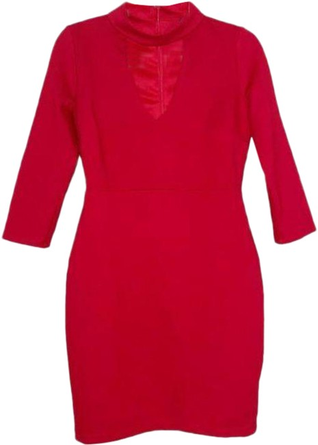 Item - Red Bodycon Mini Choker 3/4 Sleeved Short Night Out Dress Size 12 (L)