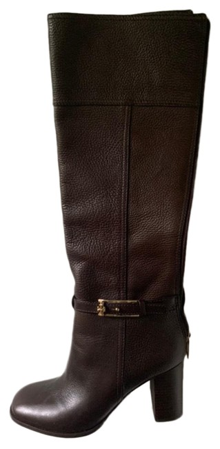 Item - Dark Brown Leather High-heeled Riding Boots/Booties Size US 7.5 Regular (M, B)