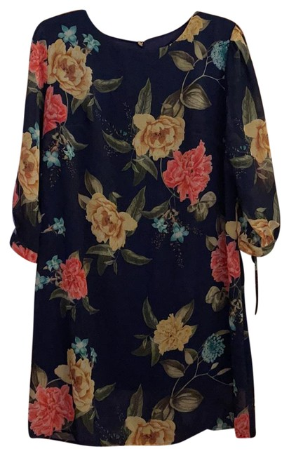Item - Navy Floral Sweet Pea Collection Mid-length Work/Office Dress Size 12 (L)