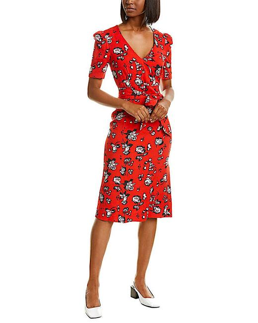 Item - Red Multi with Tag Joia Floral Print Midi Mid-length Night Out Dress Size 4 (S)