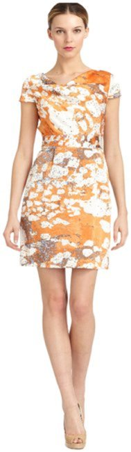 Item - Tangerine Taupe White Blue New York Multi-color Abstract Cowl Neck Sheath Short Night Out Dress Size 10 (M)