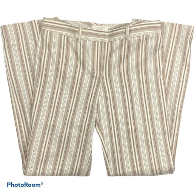 Item - Cream Ivory/Brwn Stitched Striped Linen Pants Size 8 (M, 29, 30)
