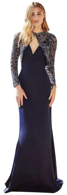 Item - Navy Darya Embroidered Lace Crepe Stretch Gown Msrp Long Formal Dress Size 14 (L)