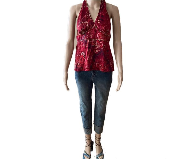 Item - Red Paisley Silk Neck Halter Top Size 10 (M)