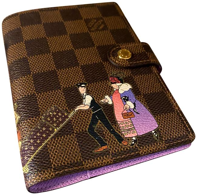 Item - Damier Ebene and Lavender Limited Edition Rare Grooms Agenda Wallet