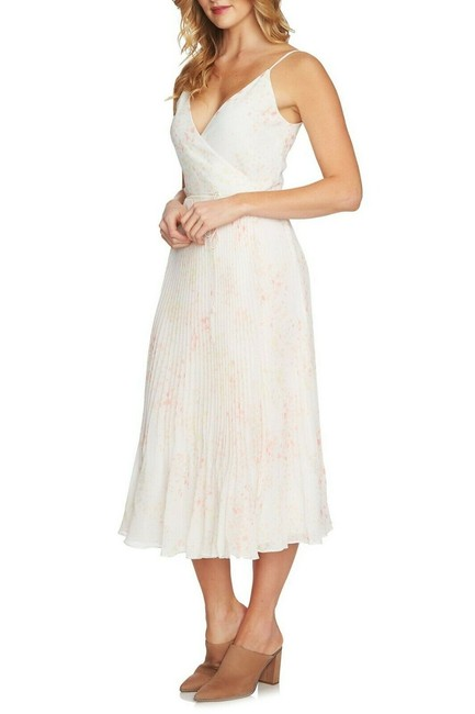 Item - White Dotted Pleated Wrap Strappy Summer Mid-length Short Casual Dress Size 4 (S)