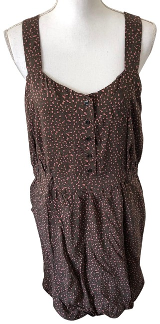 Item - Brown Pink Short Casual Dress Size 12 (L)