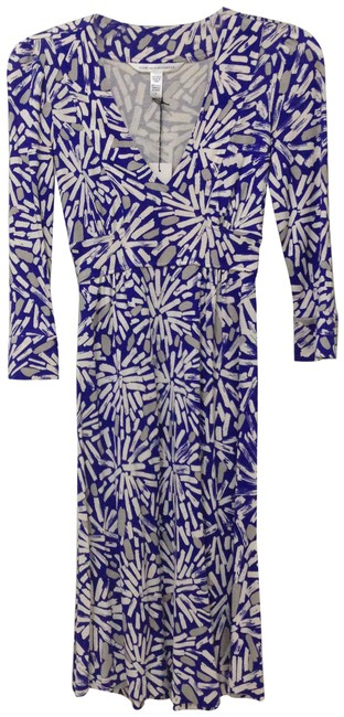 Item - Blue/ White/ Grey Consuelo Silk Print Mid-length Work/Office Dress Size 0 (XS)