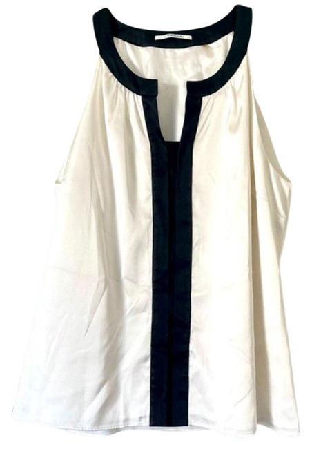 Item - White Black And Silky Sleeveless Blouse Size 12 (L)