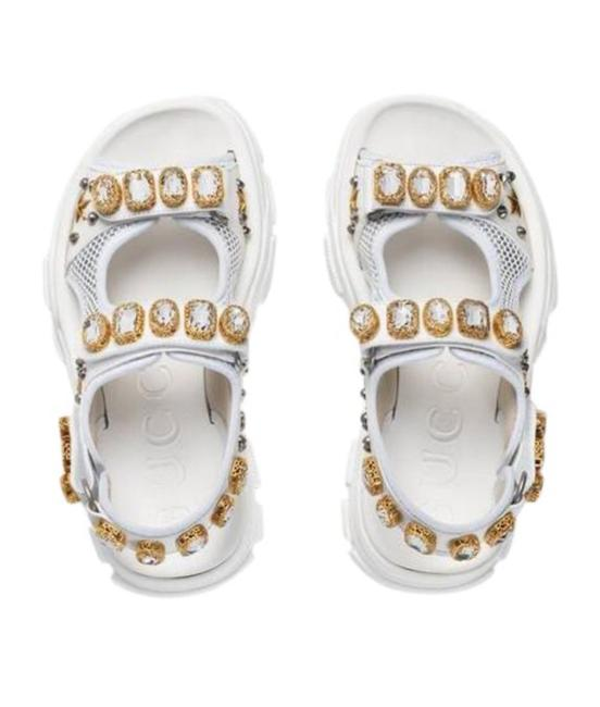 Item - White 557471 Crystals Mesh Leather Sandals Size EU 35 (Approx. US 5) Regular (M, B)