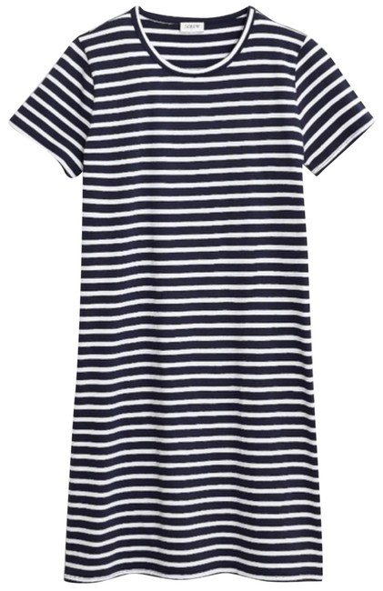 Item - Blue Navy & White Striped T-shirt Short Casual Dress Size 6 (S)