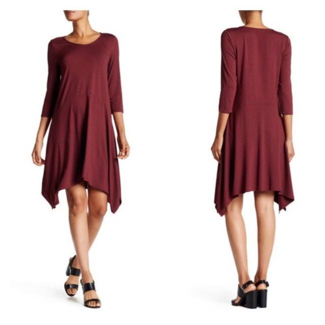 Eileen Fisher Red Asymmetrical Passion Flower Cocktail Dress Size 8 (M) Eileen Fisher Red Asymmetrical Passion Flower Cocktail Dress Size 8 (M) Image 1