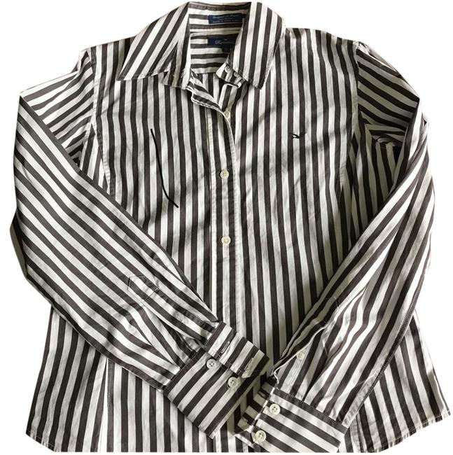Item - Brown/White Striped Shirt Button-down Top Size 6 (S)